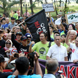 FIlepix taken on Aug 18 shows participants of the anti-Lynas assembly at Tama Gelora on Sunday. — BBXpress