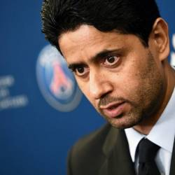 Paris Saint-Germain's president Nasser Al-Khelaifi during a press conference. — AFP