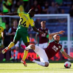 Burnley's Jay Rodriguez in action with Norwich City's Ibrahim Amadou. - Reuters