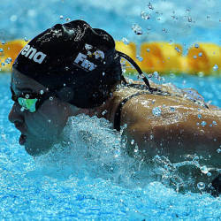 Syrian refugee Yusra Mardini competes in a heat for the women's 100m butterfly event during the swimming competition at the 2019 World Championships at Nambu University Municipal Aquatics Center in Gwangju, South Korea, on July 21. — AFP