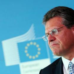 EU Commissioner for Energy Maros Sefcovic attends a news conference after gas talks between the European Union, Russia and Ukraine at the EU Commission headquarters in Brussels, Belgium September 19, 2019. — AFP