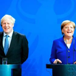 German Chancellor Angela Merkel and Britain's Prime Minister Boris Johnson attend a news conference at the Chancellery in Berlin, Germany Aug 21, 2019. - Reuters