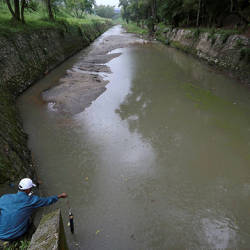 Filepix taken on June 26 shows a Department of Environment staff performing a check at Sungai Kim Kim. — Bernama