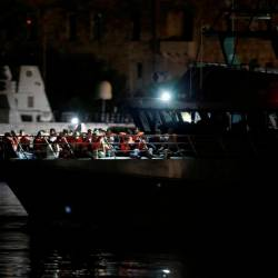 Migrants who were rescued by the Italian coastguard arrive on an Armed Forces of Malta patrol boat in Valletta's Marsamxett Harbour, Malta September 17, 2019. — Reuters