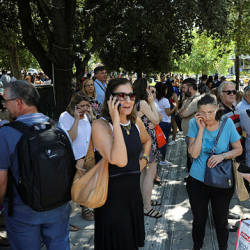 People are seen on the Syntagma Square following the evacuation of nearby buildings after an earthquake in Athens, Greece, July 19, 2019. — Reuters