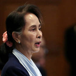 Myanmar's leader Aung San Suu Kyi speaks on the second day of hearings in a case filed by Gambia against Myanmar alleging genocide against the minority Muslim Rohingya population, at the International Court of Justice (ICJ) in The Hague, Netherlands Dec 11, 2019 — Reuters