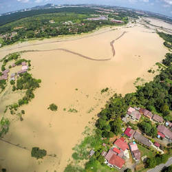 Filepix taken on July shows an aerial view of the flood in the Kampung Tengah Durian Tunggal area. — BBXpress