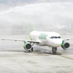 Citilink Indonesia's aircraft being given a water salute upon landing at KLIA. BERNAMAPIX