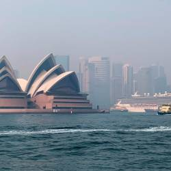 Haze from the ongoing bushfires covers the city skyline and the Sydney Opera House in Sydney, Australia on Nov 21. — Reuters