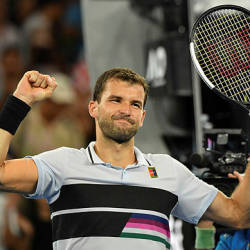 Bulgaria's Grigor Dimitrov celebrates after victory over Italy's Thomas Fabbiano in their men's singles match on day five of the Australian Open. — AFP