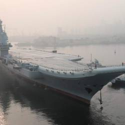 In this file photo taken on May 13, 2018, China's first domestically manufactured aircraft carrier, known only as Type 001A, leaves port in the northeastern city of Dalian. — AFP