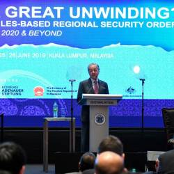 Prime Minister Tun Dr Mahathir Mohamad delivers his keynote address entitled 'New Malaysia in a Changing Regional Order' during the 33rd Asia Pacific Roundtable on June 25, 2019. - Bernama