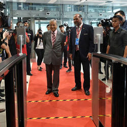 Prime Minister Tun Dr Mahathir and Communications and Multimedia Minister Gobind Singh Deo attend the launching of the 5G Malaysia showcase in Putrajaya on April 18, 2019. — Bernama