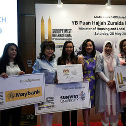 PKR vice president Zuraida Kamaruddin is pictured with sponsors at the launch of the Sororoptimist International's 21st Global Conference at KLCC. — Bernama