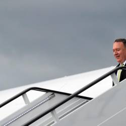US Secretary of State Mike Pompeo arrives at Stansted Airport near London, Britain, June 3, 2019. - Reuters