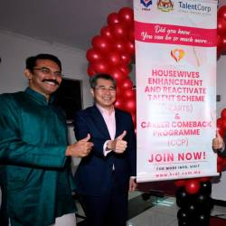 Ministry of Human Resources Secretary Datuk Amir Omar (2nd from R) launches the Hearts initiative and Career Comeback programme in conjunction with the EPF's Deepavali 2019 Celebration at Wisma HRDF today. - Bernama