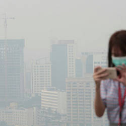 A view of the haze enveloping Kuching city at 1pm today. — Bernama