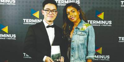 Soon (far left) with actress Naomi Harris after receiving an award for his first film Something Carved and Real at the Terminus Conference + Festival Campus MovieFest in San Francisco.