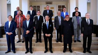 PN party chiefs take a group photo after a meeting in Putrajaya today. - Bernama