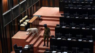 A policeman with a sniffer dog inspects parliament before the start of the session Thursday. — AFP