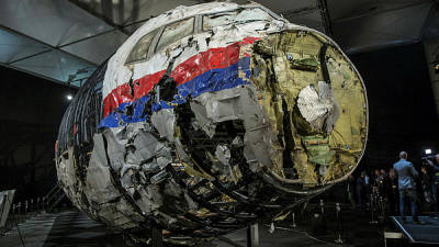 Filepix taken on Oct 13, 2015 shows the reconstructed wreckage of Malaysia Airlines flight MH17 which crashed over Ukraine in July 2014 as seen in Gilze Rijen, Netherlands. — Reuters