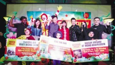 Last year's top three finalists with judges and Ronald McDonald.