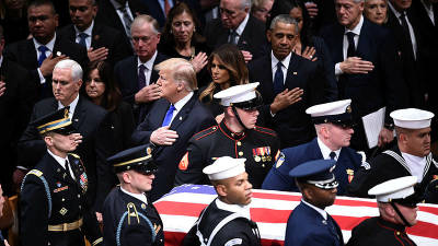 President Donald Trump, first lady Melania Trump and former presidents, vice presidents, first ladies and spouses attend the state funeral for former President George H.W. Bush at the National Cathedral Dec 05, 2018. — AFP