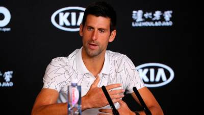 Serbia's Novak Djokovic speaks during a press conference ahead of the Australian Open tennis tournament in Melbourne on January 19, 2020. - AFP