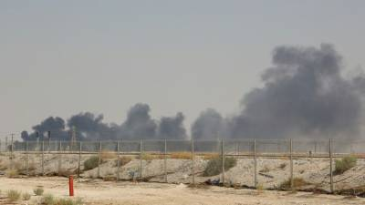 Smoke billows from Saudi oil giant Aramco's huge Abqaiq processing plant following a Saturday attack that Iran insists was carried out by Yemeni rebels. — AFP