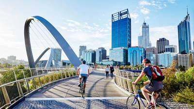 Elizabeth Quay Pedestrian Bridge in Perth. – PIX COURTESY OF WESTERN AUSTRALIA