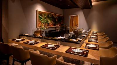 Tenmasa's counter allows up to 10 guests for a first-hand view of the art of tempura making.