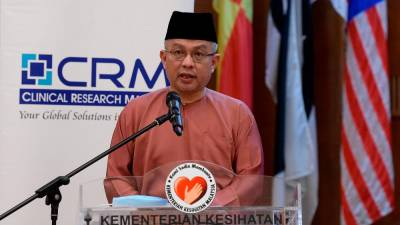 Health Minister Datuk Seri Dr Adham Baba speaks at the Clinical Research Malaysia (CRM) Sponsored Research Award ceremony in conjunction with the World Clinical Trials Day at the Ministry of Health today. - Bernama