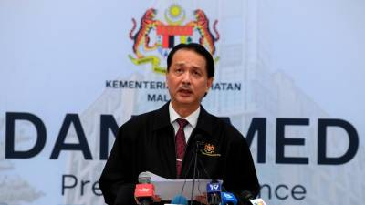 Health director-general Datuk Dr Noor Hisham Abdullah speaks at a daily press conference on Covid-19 infections at the Ministry of Health today. - Bernama