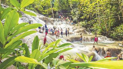Jamaica's famous waterfalls at Dunn's River.