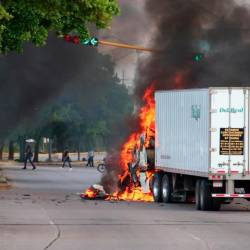 A truck burns in a street of Culiacan, state of Sinaloa, Mexico, on Oct 17, 2019. — AFP