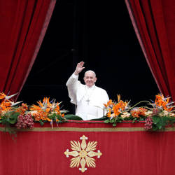 Pope Francis greets faithful before reading his 'Urbi et Orbi' (To the City and the World) message from the balcony overlooking St Peter's Square at the Vatican April 21, 2019. — Reuters