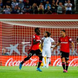 Mallorca's Lago Junior celebrates scoring their first goal during the match between RCD Mallorca and Real Madrid at Iberostar Stadium, Palma, Spain on October 19, 2019. - Reuters