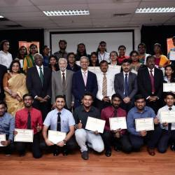 The High Commissioner of India to Malaysia, Mridul Kumar (center, seventh from left) poses for a group photo with students awarded the Indian Scholarship and Trust Fund (ISTF) during ISTF Felicitation Ceremony, on Dec 13, 2019. — Bernama