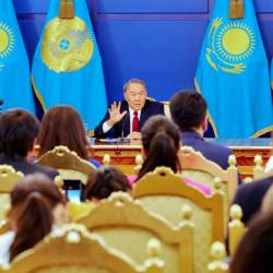 In this file photo taken on Sept 14, 2017 Kazakh President Nursultan Nazarbayev gestures during a press conference in Astana. — AFP