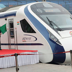 India's Prime Minister Narendra Modi flags off India's fastest train 'Vande Bharat Express' at a ceremony in New Delhi, India, Feb 15, 2019. — Reuters