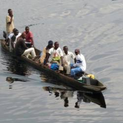 File picture of a motorised canoe, also called a pirogue, which is widely used to transport people and goods in DR Congo. Accidents are common, often due to overloading.