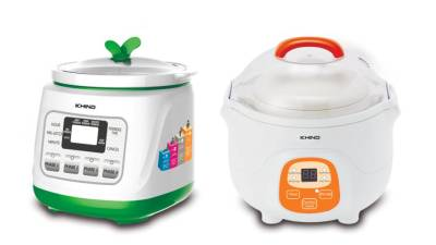 1.2-litre Khind Baby Porridge Cooker BP 12 (L) and Khind Porridge Soup Cooker BPS 07.