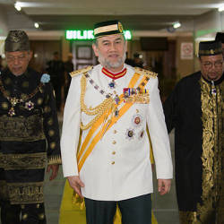 Sultan Muhammad V at the opening of the second term of the 14th state legislative with Menteri Besar Datuk Ahmad Yakob (2L) — Bernama