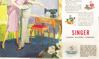 Vintage ad boosts fund gets a boost from vintage Singer ad