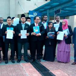Iskandar Putri City Council councillors demonstrate at the city council office in Johor Baru on May 26, 2019. — Bernama