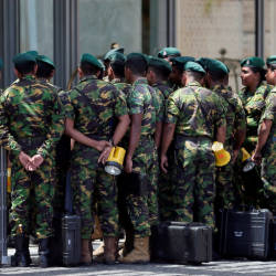 Special Task Force members prepare to go to the site of an explosion at Shangri-La hotel in Colombo, Sri Lanka April 21, 2019. — Reuters