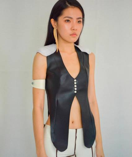 Coppa leather top. – COURTESY OF CARO CHIA