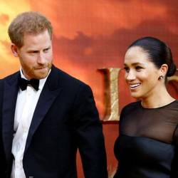 Prince Harry and Meghan Markle attend the premier of The Lion King in London.
