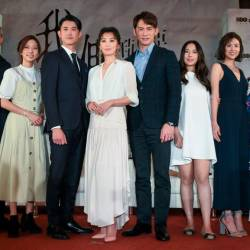 LtoR-Pets Tseng, JC Lin, Chen Yu, Wu Kang-Ren, Alyssa Chia, James Wen, Tracy Zhou, Allison Lin and Xie Qiong-Xuan at a media event for The World Between Us in Taipei - HBO ASIA