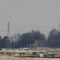 Smoke is seen following a fire at Aramco facility in the eastern city of Abqaiq, Saudi Arabia, Sept 14. — Reuters